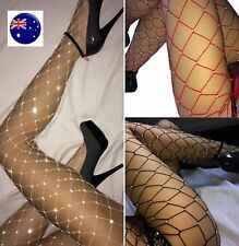 Women Crystal Rhinestone bling Black Fishnet Big net Pantyhose Stockings Tights