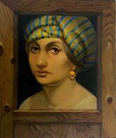 Portrait of a Women Original oil Painting, Handmade art, Surrealism