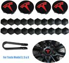 Tesla Model 3 S X Y Car Wheel Center Hub Cap Cover and Lug Nut Covers Kit Red