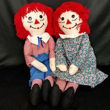 """Dakin Vtg Raggedy Ann 85th & Andy 80th Anniversary Stuffed Dolls 36"""""""