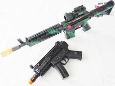 2X Toy Machine Guns M-16 Toy Rifle + Electronic MP5 w Flashing Lights & Sound FX