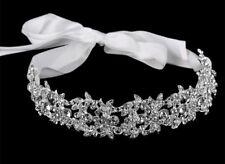 Silver Bridal Wedding Bridesmaid Party Tiara, Headband Hairpiece With Ribbon