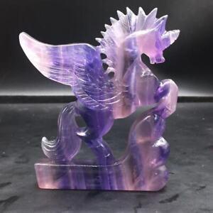 Natural Rainbow Fluorite Quartz Carved Pegasus Unicorn Healing Decoration 1Pc