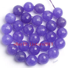 """14mm Natural Light Purple Jade Faceted Round Shape Gems Loose Beads Strand 15"""""""