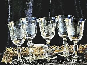 FABULOUS ART DECO HAND ETCHED CRYSTAL WINE GLASSES SET OF 6 ENGLAND C 1930'S