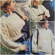 1980s Aran Raised Cable Midriff Crop Jumper Bolero Patons PG55 Knitting Pattern