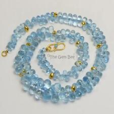 Teardrop Briolette Bead Necklace 17 inch 18K Yellow Gold Santa Maria Aquamarine