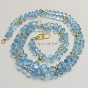18K Yellow Gold Santa Maria Aquamarine Teardrop Briolette Bead Necklace 17 inch