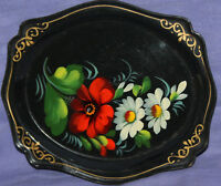Vintage Soviet Russian hand painted floral serving tole plate tray