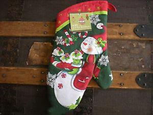 KAY DEE CHRISTMAS JOY SNOWMAN OVEN MITT CANDY CANES CUPCAKES SNOWFLAKES NWT