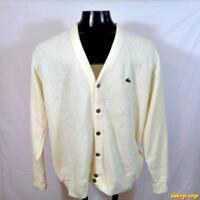 vtg USA 80s IZOD LACOSTE Orlon Acrylic Cardigan Sweater Jacket Mens XL Yellow