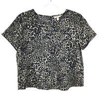 Banana Republic Women's Animal Print Short Sleeve Top Black & Gray Size Medium