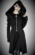 Restyle Luxury Black Moon Star Zipper Long Hoodie Jacket for Gothic & Punk Women