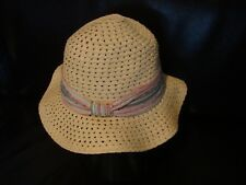 Woven Straw-Like Neutral Natural OS Beach Hat Multicolor Sparkle Accent Band