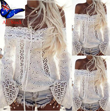 AU Womens Lace Off Shoulder Long Sleeve Ladies Casual Party Tops T-Shirt Blouse