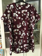 "D49 New Look Inspire Plus Sz 24 Burgundy Floral 35""Long Tunic Dress"