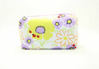 Clinique Lady Bug Yellow Purple White Floral Cosmetic Makeup bag