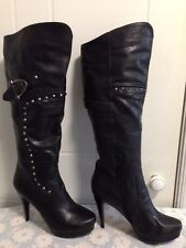 B402: Lacalandra Collection Women Knee High Black Boots Size 36,37,38,40EU
