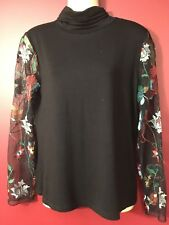 K & C Women's Embroidered Mesh Sleeve Black Turtleneck Top - Size XS - NWT