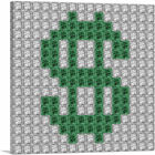 ARTCANVAS Green Dollar Sign Emoticon Money Jewel Pixel Canvas Art Print