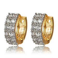 Women Luxury 9K Gold Plated Round Rhinestone Shining Hoop Earrings Jewelry Solid