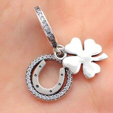 S925 Sterling Silver Lucky Day Clover Clear CZ Charm Dangle Pendant Fit Bracelet