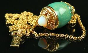 Rare ELIZABETH TAYLOR Gold Chain Necklace Enamel Opal FABERGE EGG Locket Pendant