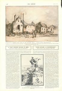 1918  ANTIQUE PRINT- BEHIND THE LINES ON THE WESTERN FRONT BY ADRIAN HILL
