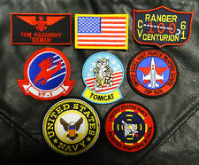 TOP GUN MOVIE ICEMAN TOM KAZANSKY TOMCAT FLIGHT JACKET 8PC IRON ON PATCH