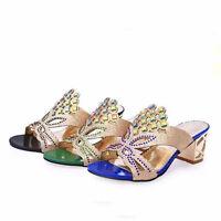 Women's Slippers Mid Heels Bling Summer Rhinestones Sandals Shoes Open Toe New
