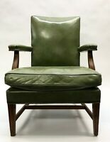 W H Gunlocke Green Leather Office Chair