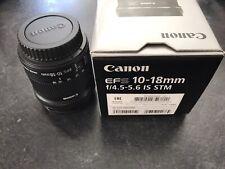 - Canon EF S 10-18mm f/4.5-5.6 IS STM Wide Angle Zoom Lens con Scatola EX. COND con Custodia