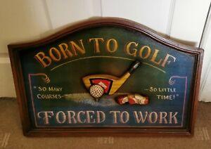 Vintage Born To Golf Sign Mancave Pub Plaque Bar Club Wooden UNIQUE