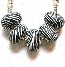 """Zebra Print' 1 X Negro/Blanco arcilla polimérica Animal Print raya Bead-Dual Core"
