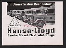 BREMEN, Werbung 1935, Hansa-Lloyd Benzin-Diesel-Elektro-Fahrzeuge