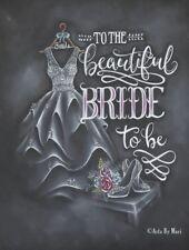 handmade greeting wedding bridal shower card chalk drawing nextday free shipping
