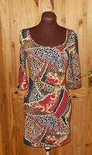 NEW LOOK brown orange scarf print stretch bodycon mini dress 3/4 sleeve 12 40
