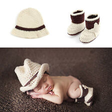 Baby Newborn Photography Props Cowboy Crochet Costume Knitted Costume Hat+Shoes