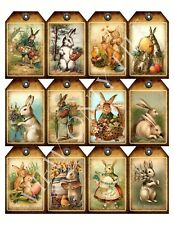 12 Primitive Easter Bunny Hang Tags Scrapbooking Paper Crafts (227)