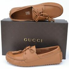GUCCI New sz 10.5 G - US 11 Authentic Designer Mens Drivers Loafers Shoes Brown
