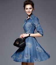 New Fashion Women Slim Fit Denim Jean Dress Bowknot Belt Long Sleeve Shirt Dress