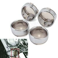 2Pair Turn Signal Lens Cover Trim Visor For Harley Softail Dyna Sportster Chrome