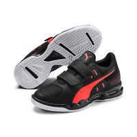 PUMA Auriz V Jr Kinder Low Boot Sneaker Hallenschuhe Schwarz-Rot-Weiss
