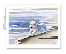 WEST HIGHLAND TERRIER AT THE BEACH Set of 10 Note Cards With Envelopes