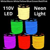 3' -330' 110V Commercial LED Flexible Neon Rope Strip Light Decor Flex Tube Sign