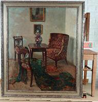 Ritta Boemm 1868-1948 Oil Painting Antique Biedermeier Empire Salon Interior