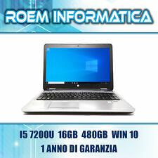 "HP PROBOOK 650 G3 I5 7200U 16GB 480GB 15,6"" WIN 10 GRADO A- 1 ANNO DI GARANZIA"