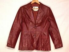 Bermans VTG red clay fitted leather blazer jacket / women 12 - fits M+ / b42