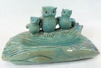 "Vintage 12"" Green Ceramic Pottery 3 Owls Log Key Trinket Tray Succulent Planter"