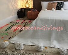 "Moroccan handwoven Pom Pom Blanket/100% natural Cotton,94""Wx118""L/ 240Wx300L."